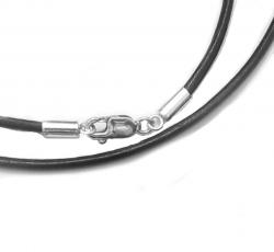 1x Sterling Silver Black leather cord 2mm choker necklace 20""