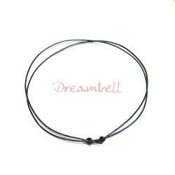 "1x Black leather cord 1mm choker adjustable necklace 14""-28"""