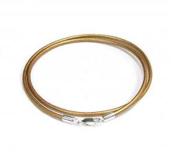 1x Sterling Silver Metallic Bronze Leather cord 2mm choker necklace 22""