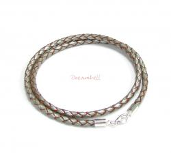 "Sterling Silver Metallic Steel Grey Bolo Braided leather 3mm choker necklace 22"" for European Bead Charms"