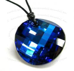 "Bermuda Blue Twist Pendant 18mm Black Leather 1mm Necklace 16"" Adjustable Using Swarovski Elements Crystal"