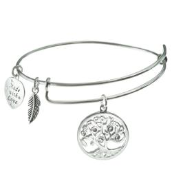 925 Sterling Silver Clear Rhinestone Round Family Tree Dangle Heart Leaf Charm Adjustable Wire Bangle Bracelet