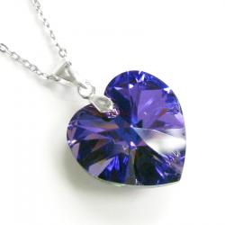 "Love Heart Heliotrope Pendant w/ Rhodium on Sterling Silver Adjustable Chain Necklace 16"" with 2"" Extender 18"" Using Swarovski Elements Crystal"