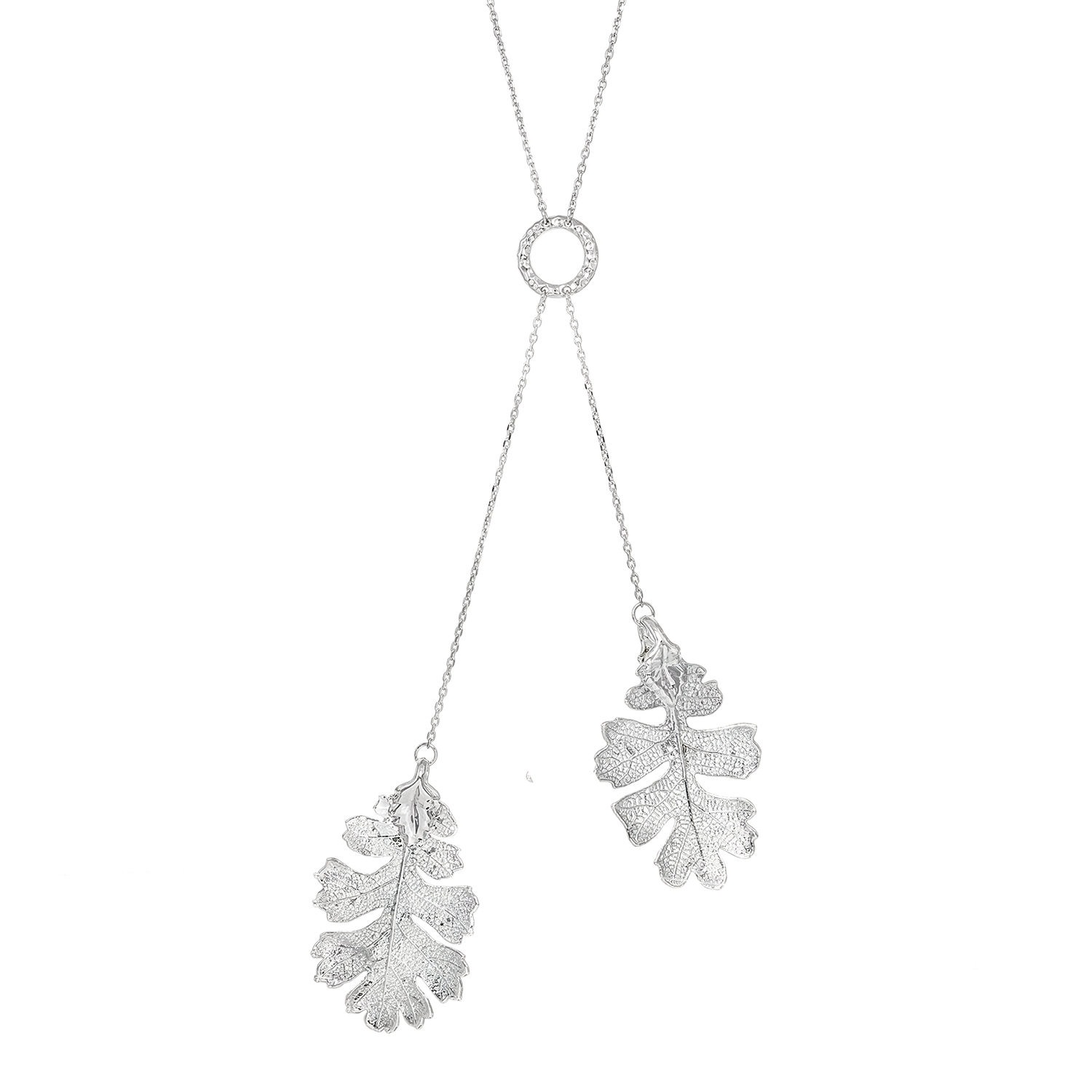 "1x Handcrafted Sterling Silver Double Genuine Oak Leaf Vein Pattern Dangle Pendant Charm Link Chain Necklace 18"" + 2\"" Extender"