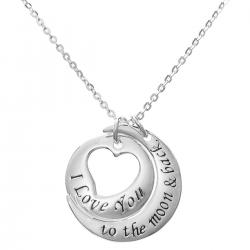 "925 Sterling Silver ""I Love You to the Moon & Back"" Round Heart Dangle Charm Pendant Rolo Chain Necklace 16""+2"" Extender"