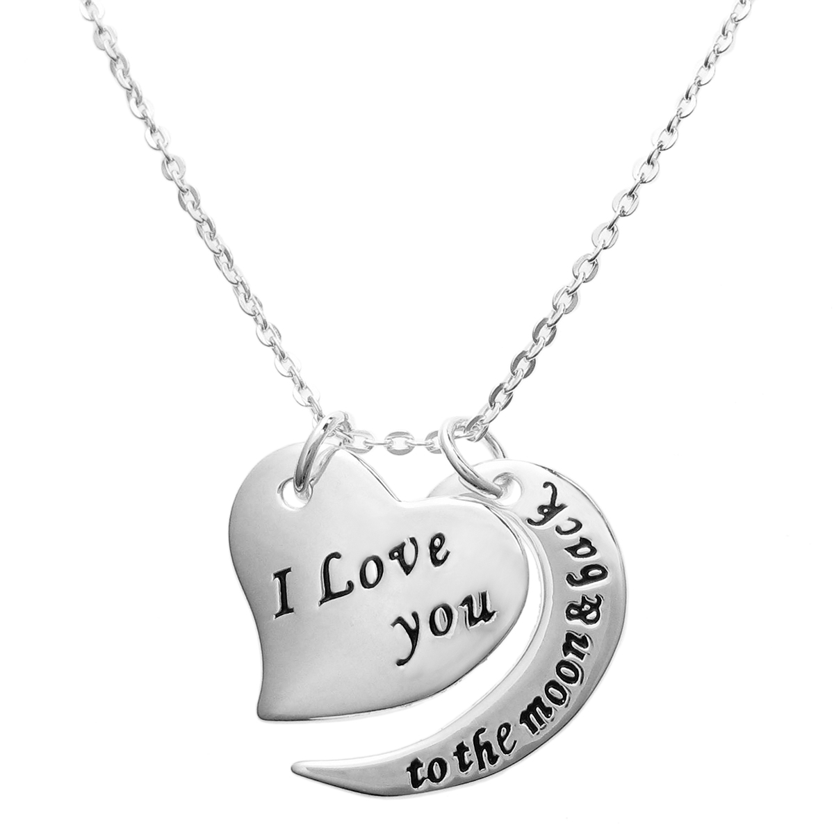 "925 Sterling Silver ""I Love You to the Moon & Back\"" Heart Dangle Charm Pendant Rolo Chain Necklace 16\""+2\"" Extender"
