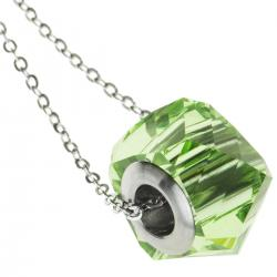 "Becharmed Helix Peridot Pendant Rhodium on 925 Sterling Silver Adjustable Chain Necklace 18"" Using Swarovski Elements Crystal"