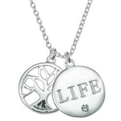 "925 Sterling Silver Family Tree Life Clear CZ Crystal Round Dangle Charm Pendant Rolo Chain Necklace 16""+1"" Extender"