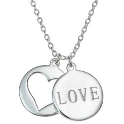 "925 Sterling Silver Love Heart Round Dangle Charm Pendantd Rolo Chain Necklace 16""+1"" Extender"
