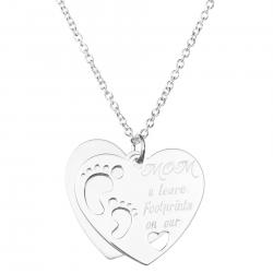 925 Sterling Silver Love Mom U Leave Footprint on Our Heart Dangle Charm Pendant Rolo Chain Necklace 16 Inches