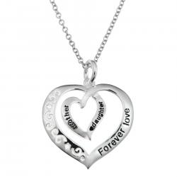 "925 Sterling Silver Mother Daughter Forever Love Heart Dangle Charm Pendant Chain Necklace 16""+2"" Extender"
