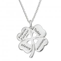 "925 Sterling Silver 4 Leaf Clover Friends Forever Today Tomorrow Always Heart Charm Pendant Chain Necklace 16""+2"" Extender"
