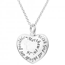"925 Sterling Silver with God All Things Are Possible Heart Charm Pendant Chain Necklace 16""+2"" Extender"