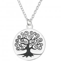 925 Sterling Silver Round Family Tree Dangle Charm Pendant Rolo Chain Necklace 16 Inches with 1 Inch Extender