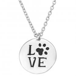 925 Sterling Silver Round Love Puppy Footprint Dangle Charm Pendant Rolo Chain Necklace 16 Inches with 1 Inch Extender