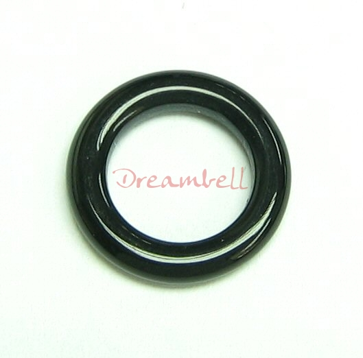 2x Black Agate Onyx Round Ring Pendant Connector 16mm