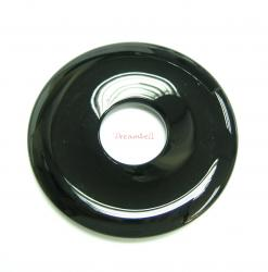1x Black Agate Round Donut Ring Pendant Focal Bead 50mm
