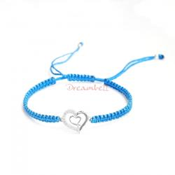 Rhodium on Sterling Silver Heart Charm Link Capri Blue Reefknot Knotted Wristband Ajustable Bracelet 6.5""