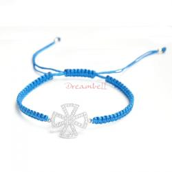 Rhodium on Sterling Silver Cross Charm Link Capri Blue Reefknot Knotted Wristband Adjustable Bracelet 6.5""
