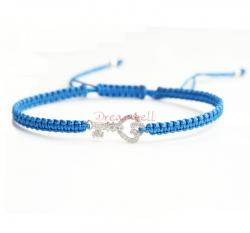 Rhodium on Sterling Silver Key Charm Link Capri Blue Reefknot Knotted Wristband Adjustable Bracelet 6.5""