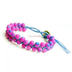 1x Button Fluorescent Glowing Pink and Purple Acrylic Bead Knotted Wristband Adjustable Bracelet 7""