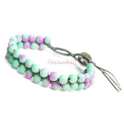 1x Button Fluorescent Pink and Mint Acrylic Bead Friendship Knotted Wristband Adjustable Bracelet 7""