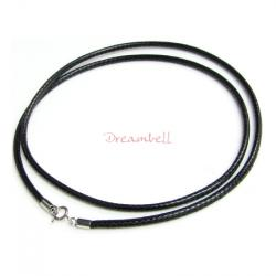 "1x Rhodium on Sterling Silver Black 1mm Waxed Cotton Bead Stringing Cord Choker Necklace 16"" w/ Spring Ring"