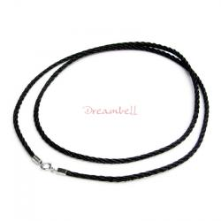 "1x Rhodium on Sterling Silver Black 2mm Silk Cord Necklace 18"" w/ Spring Ring"
