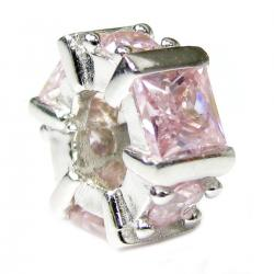 Rhodium Sterling Silver Hexagon Pink CZ Crystal Bead for European Charm Bracelets