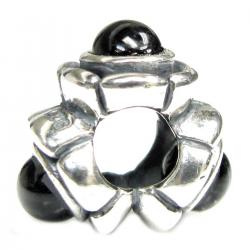 Sterling Silver Black Stone Bead for for European Charm Bracelets