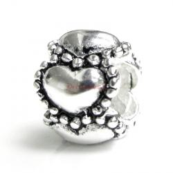 Sterling Silver Endless Love Heart Bead for European Charm Bracelets