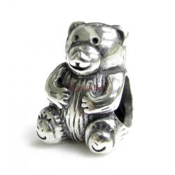 Sterling Silver Cute Teddy Bear for European Charm Bracelets