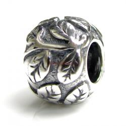 Sterling Silver Leaf Tree life Bead for European Charm Bracelets  10mm