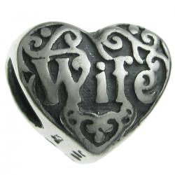 Sterling Silver Heart Love Wife Bead for European Charm Bracelets