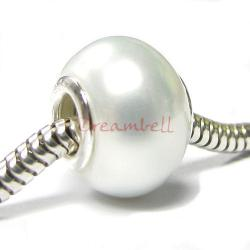 Sterling Silver White Crystal Pearl Bead Charm for European Charm Bracelets