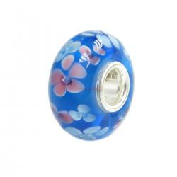 Sterling Silver Round Flower Murano Lt. Blue Glass Bead for European Charm Bracelets