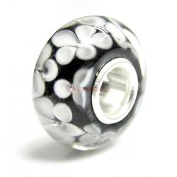 Sterling Silver Round Flower Murano BLACK Glass Bead for European Charm Bracelets