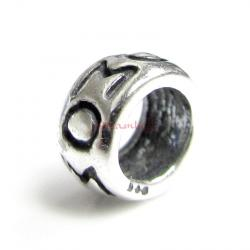 1x Sterling Silver MOM Mother Spacer Bead for European Charm Bracelets