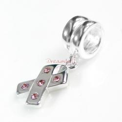 1x Sterling Silver Cross Ribbon CZ Dangle Bead for European Charm Bracelets