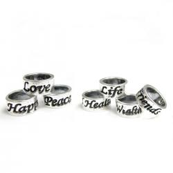 7  Sterling Silver Love Peace Happiness Health Wealth Friends Long Life Ring Beads for European Charm Bracelets