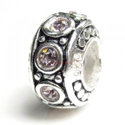 Sterling Silver Light Amethyst CZ Bead for European Charm Bracelet 11mm Birthstone June