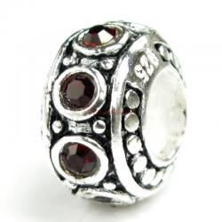 Sterling Silver Garnet CZ Bead for European Charm Bracelet 11mm Birthstone January