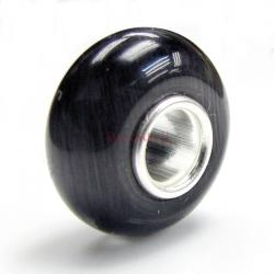 Sterling Silver ROUND Black CAT EYE Bead for European Charm Bracelets