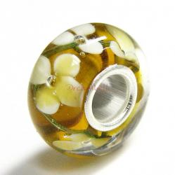 Sterling Silver Round Murano Flower Topaz Glass Bead for European Charm Bracelets