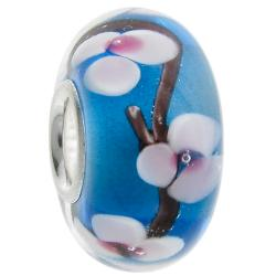 925 Sterling Silver Round Murano Blue Glass Bead for European Charm Bracelets