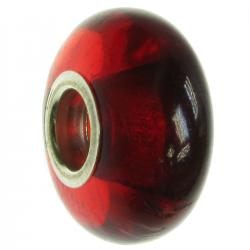 Sterling Silver Red Amber Round Bead for European Charm Bracelets