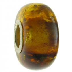 Sterling Silver Lt Cognac Amber Round Bead for European Charm Bracelets