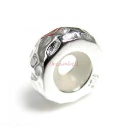 STERLING SILVER STOPPER WITH RUBBER ROUND HAMMERED BEAD for European Charm Bracelets