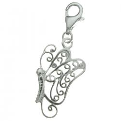 STERLING SILVER Butterfly Dangle CHARM Pendant for European Lobster Clip on Charm