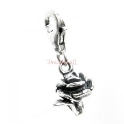 STERLING SILVER Rose Dangle CHARM Pendant for European Lobster Clip on Charm